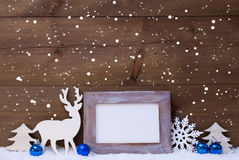 Christmas Card With Blue Decoration, Copy Space, Snow, Snowflake Stock Photos