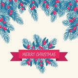 Christmas card with blue fir tree and red berries. Festive lette Royalty Free Stock Photo