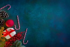 Christmas card on blue green background stock photography
