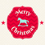 Christmas card with blue horse on chevron pattern Royalty Free Stock Image