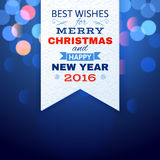 Christmas card with blue lights. And type design Royalty Free Stock Photography