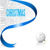 Christmas card with blue ribbon Royalty Free Stock Image
