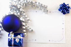 Christmas card blue and silver Royalty Free Stock Photos