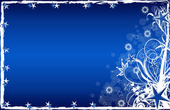 Christmas Card Blue Stars And Flowers Royalty Free Stock Photo