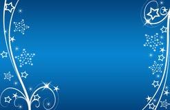 Christmas Card Blue Stars And Flowers Stock Photos