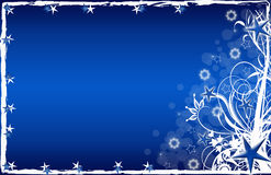 Christmas card blue with stars and snowflakes. Christmas Illustration with stars and abstract lines Stock Photos