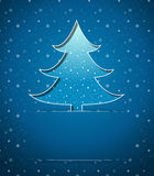 Christmas card with blue tree Stock Photography