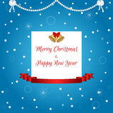 Christmas card in blue with a white tag, golden bells and a red ribbon. Suitable for invitations. Stock Photos