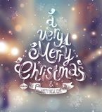 Christmas card with blurred background. Stock Photos