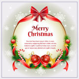 Christmas Card with Bow. Christmas card with berry and other decoration item Stock Photography