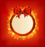 Christmas card with bow, lighting background Stock Images