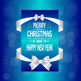 Christmas card with a  a bow,and ribbon. Stock Images