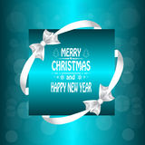 Christmas card with  a bow and ribbon. Royalty Free Stock Photos