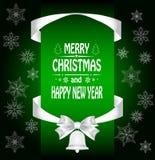 Christmas card with a  a bow Stock Photos