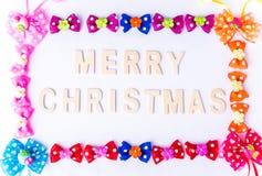 Christmas card with bow Stock Photos