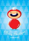 Christmas card with boy in fir-tree toy costume. Christmas card with boy in in fir-tree toy costume on a blue background with fir-trees Royalty Free Stock Photos