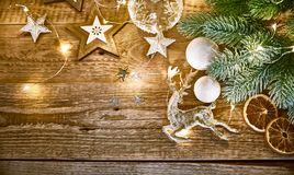 Christmas card with branch fir snow Royalty Free Stock Photo