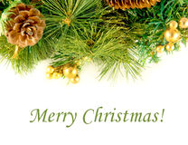 Christmas Card. Branch Of A Fur-tree And Fir Cones Stock Photo