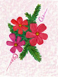 Christmas card with branches red flowers. Painting water colors of Christmas bouquet Royalty Free Illustration