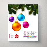Christmas card with bright and colorful Christmas balls. Christmas card with bright and colorful Christmas balls and realistic fir tree branches. Vector Stock Photos