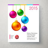 Christmas card with bright and colorful Christmas balls. Royalty Free Stock Photography