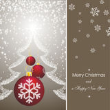 Christmas card in brown. Christmas card as abstract brown background with new year stars, fir silhouette and red decorations Royalty Free Stock Images