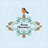 Christmas card with bullfinch. On a blue background stock illustration