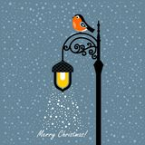 Christmas card with bullfinch and lantern. On a blue background vector illustration
