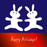 Christmas card with bunnies. Christmas card with picture of two bunnies Stock Image