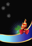 Christmas card with a burning candle royalty free illustration