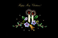 Christmas card with burning candles,bell and flowers on black background. Christmas card embroidery with burning candles,bell and flowers on black background Royalty Free Stock Photo