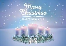 Christmas card with burning candles. Christmas decoration with burning candles on magic winter background. Vector christmas card Royalty Free Stock Photos