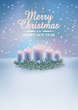 Christmas card with burning candles. Christmas decoration with burning candles on magic winter background. Vector christmas card Royalty Free Stock Images