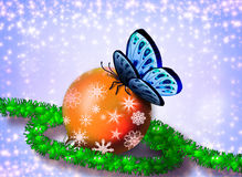 Christmas card with a butterfly Royalty Free Stock Image