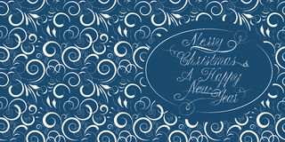 Christmas card with a calligraphical inscription. Blue Christmas and a New Year card with a calligraphical inscription Royalty Free Stock Images