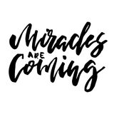 Christmas card calligraphy Miracles are Coming Stock Photography