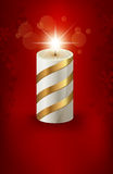 Christmas Card with a Candle. Elegant Christmas Card With a Candle and Snowlflakes Stock Images