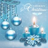 Christmas card with a candle balls royalty free illustration