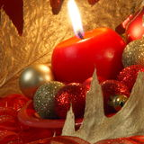 Christmas Card : Candle and balls - Stock Photo Royalty Free Stock Image