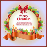 Christmas Card with Candle. Berry, and other decoration item Stock Photo