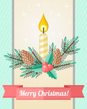 Christmas card with candle and fir twigs. Light holiday Christmas card with composition of candle and fir twigs with cones Stock Images