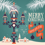 Christmas card with candle lantern Stock Image