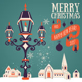 Christmas card with candle lantern Stock Photography