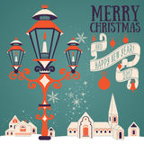 Christmas card with candle lantern Royalty Free Stock Photo