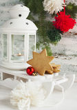 Christmas card with candle lantern, cookies and sledge Royalty Free Stock Images