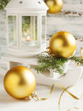 Christmas card with candle lantern and sledge Stock Images