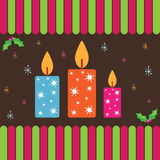 Christmas card with candles Royalty Free Stock Photos