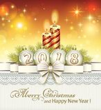 Christmas card 2018 with candles. Christmas card with candles and balls on the background of ornaments royalty free illustration