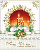 Christmas card with candles and balls.  Christmas card with candles and balls in a decorative frame royalty free illustration