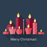 Christmas card with candles Stock Images